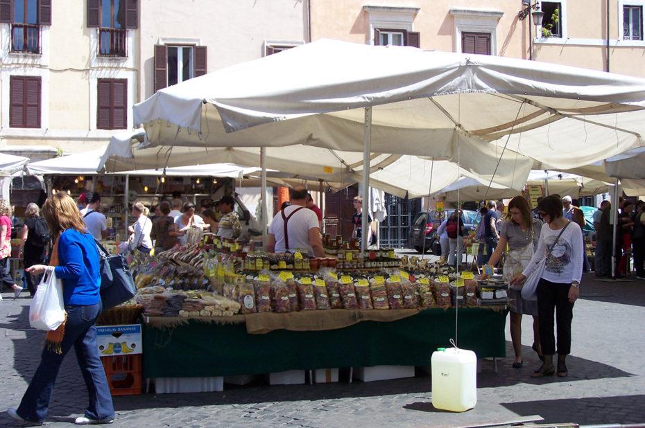 Produits frais, pâtes au Campo dei Fiori