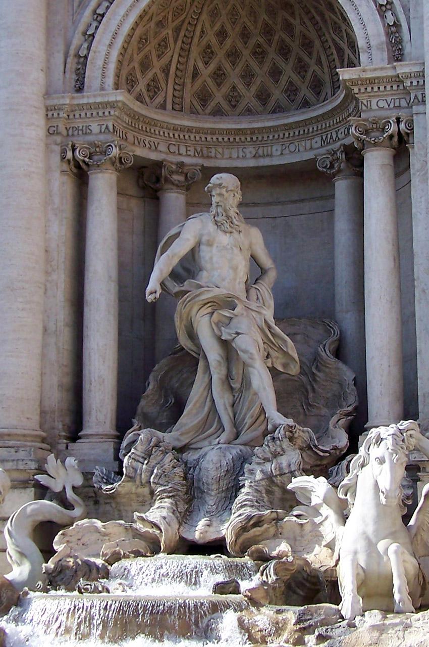 Le dieu Neptune sur un char en forme de coquille