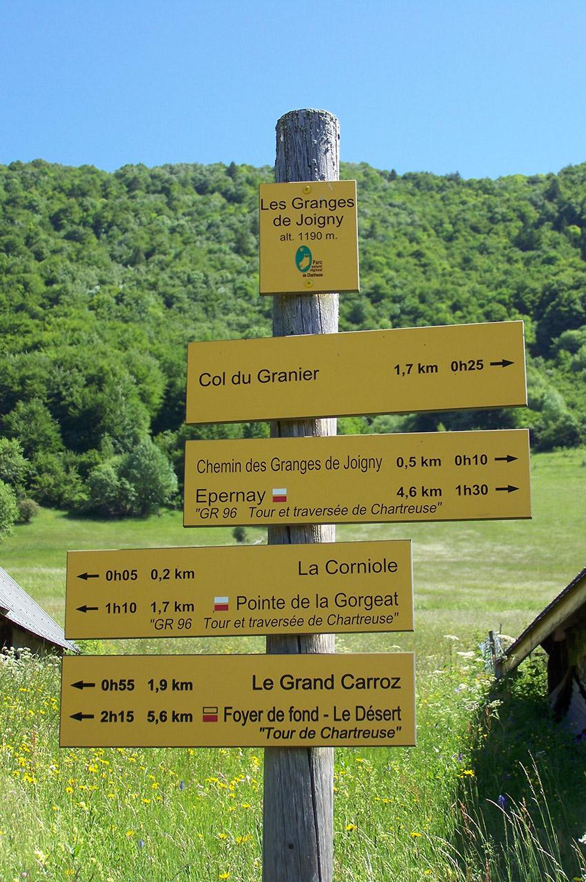 Panneau de randonnée aux granges de Joigny
