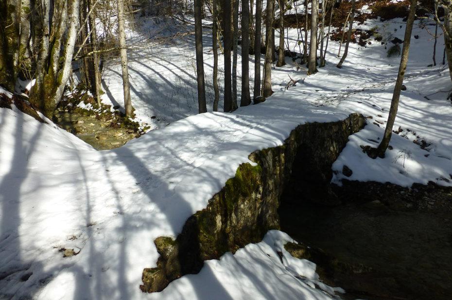 Petit pont sur le Cozon, recouvert de neige