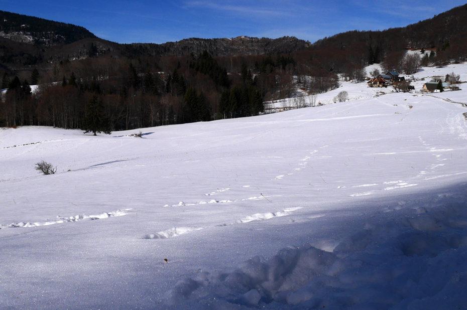 Randonnée dans la neige vers les granges de Joigny