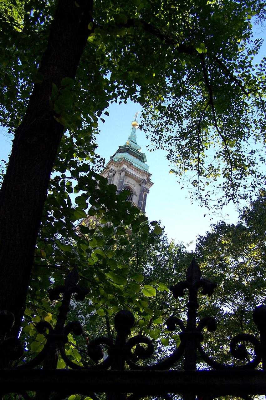 L'église Sophienkirche dans les arbres