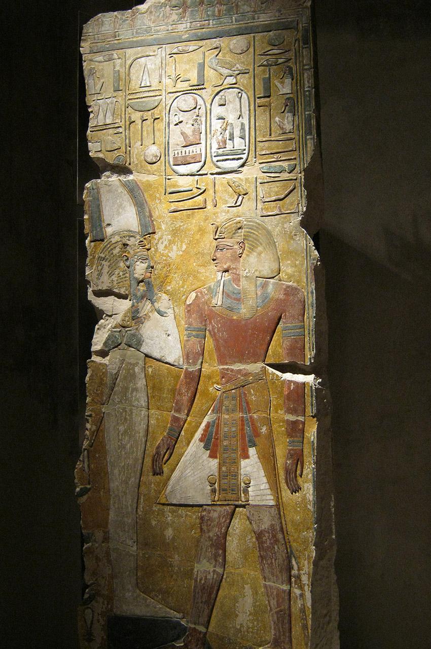 Relief du roi Séthy Ier face à Osiris