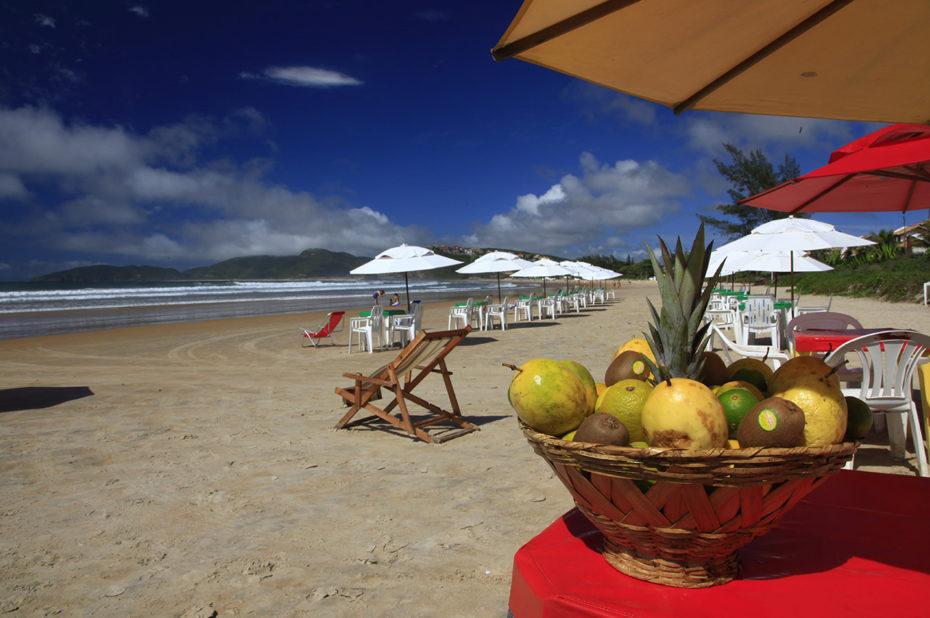 Une corbeille de fruits à manger sur la plage