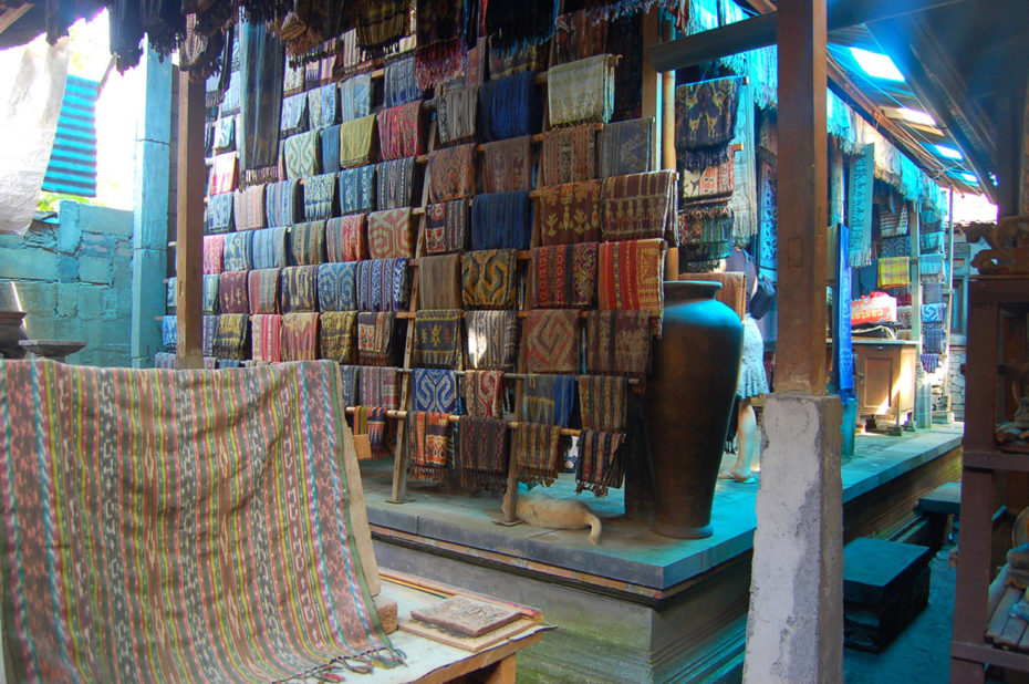 Boutique de tissus multicolores