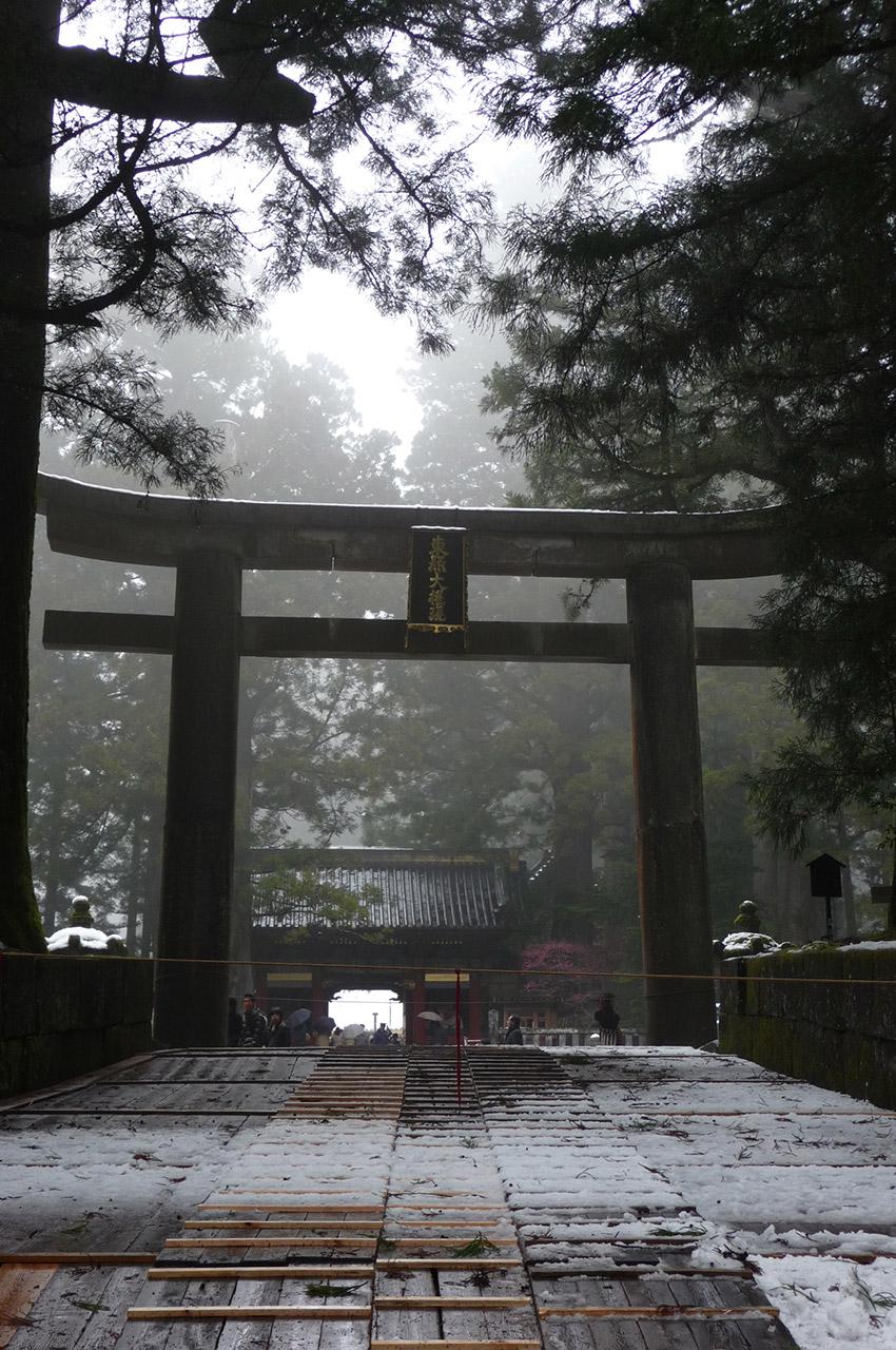 Un grand Torii de granit marque l'entrée du temple Toshogu