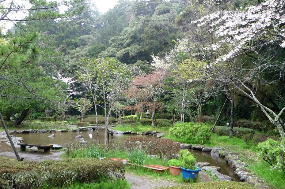Les jardins du sanctuaire shintô sous la pluie
