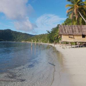 Petite hutte sur une plage de sable blanc