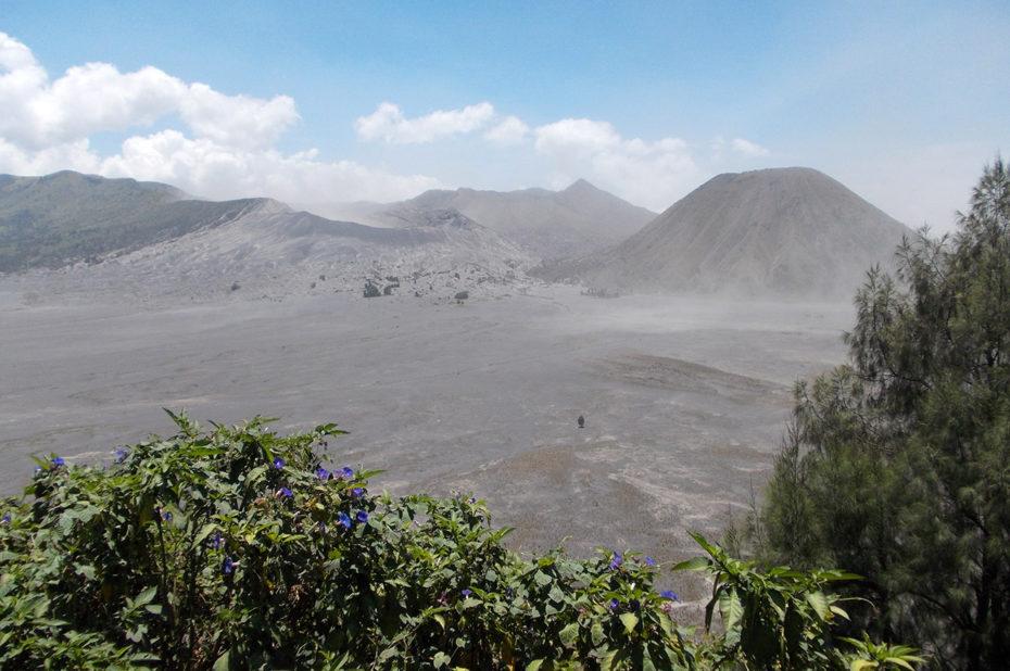 Plaine de sable gris autour du volcan Bromo