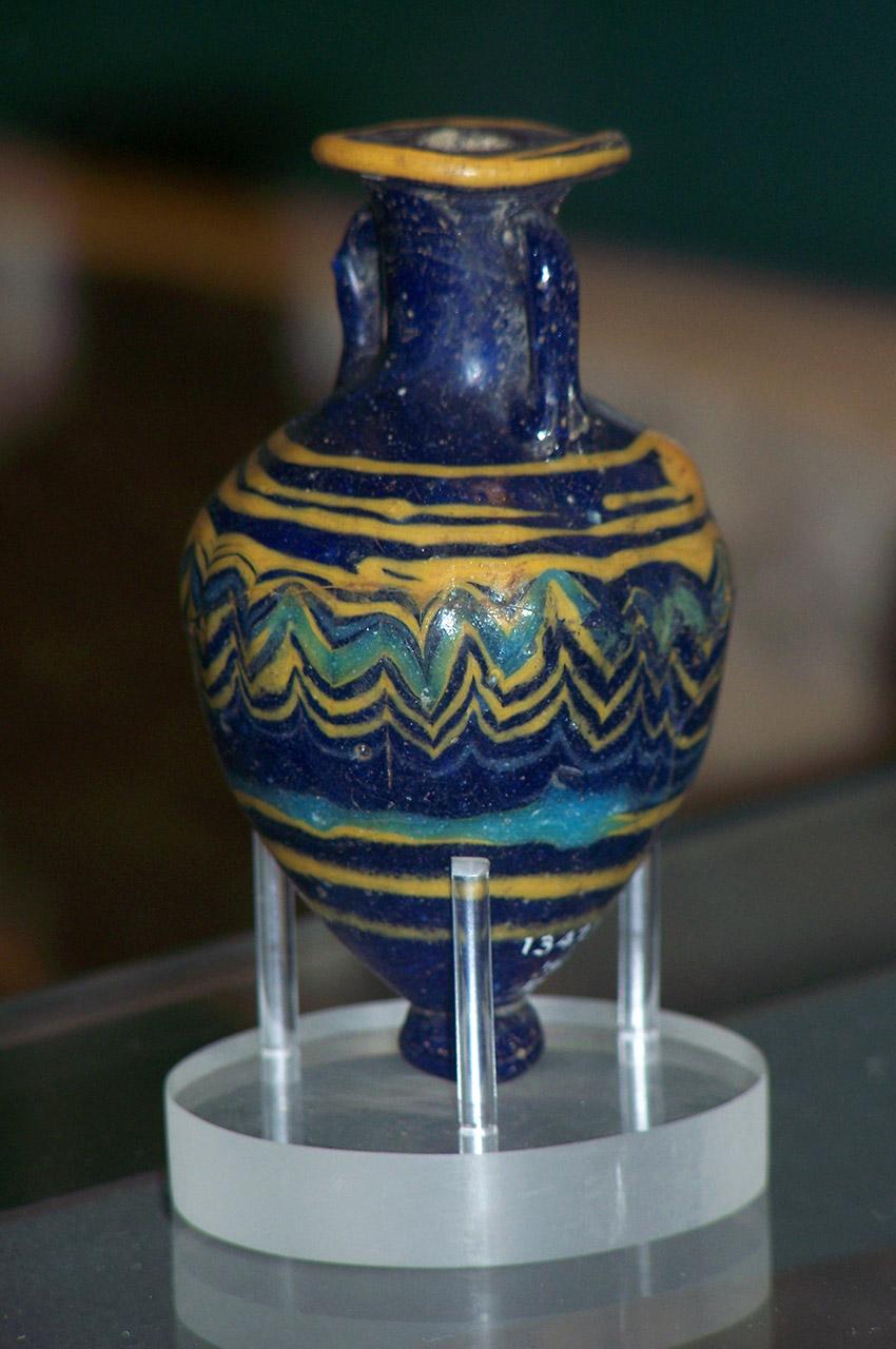 Amphore miniature bleue et jaune