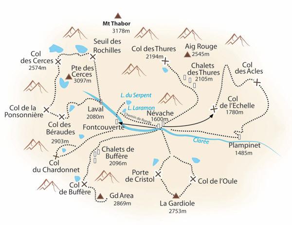 Carte de randonnée dans la vallée de la Clarée