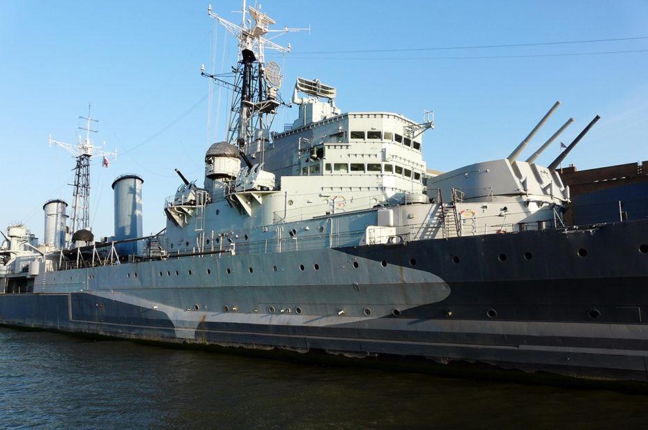 Le HMS Belfast, croiseur léger utilisé pendant la Seconde Guerre mondiale
