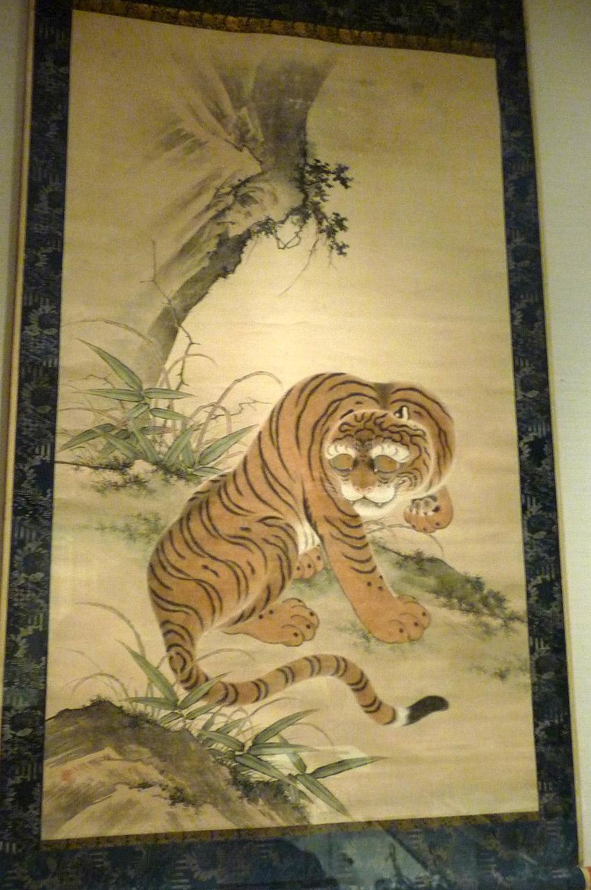 Peinture d'un tigre sur rouleau suspendu de Ishizaki Gentoku