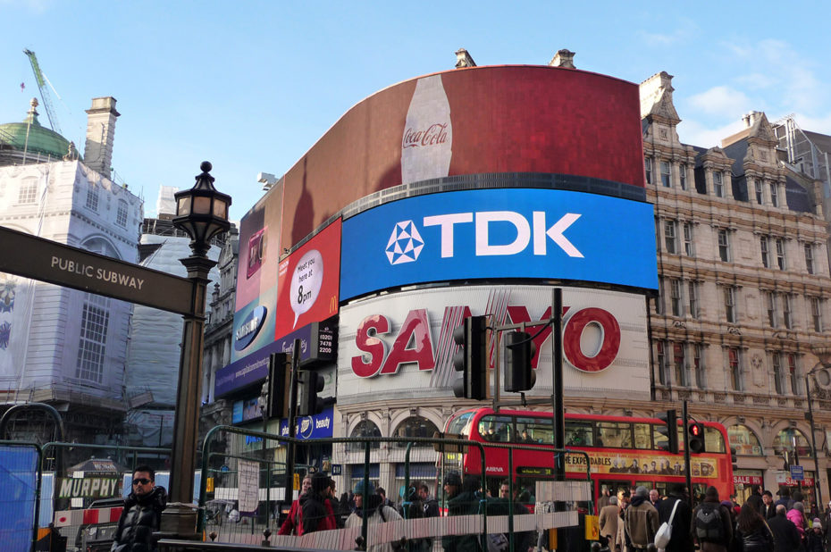 Piccadilly Circus, au centre de Londres