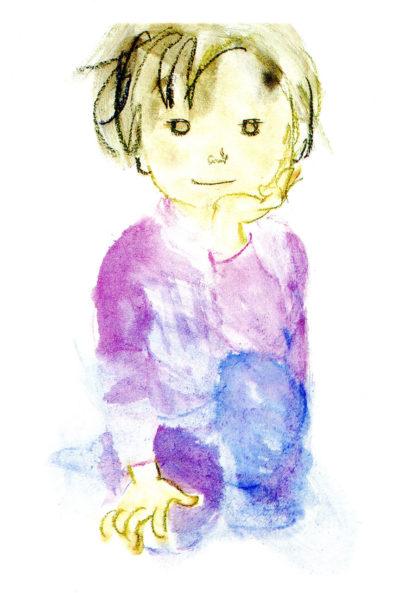 Garçon assis, dessin Chihiro Iwasaki