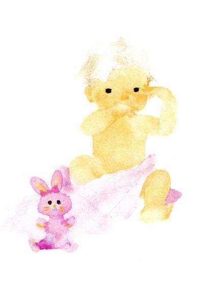 Lapin rose et bébé, dessin Chihiro Iwasaki