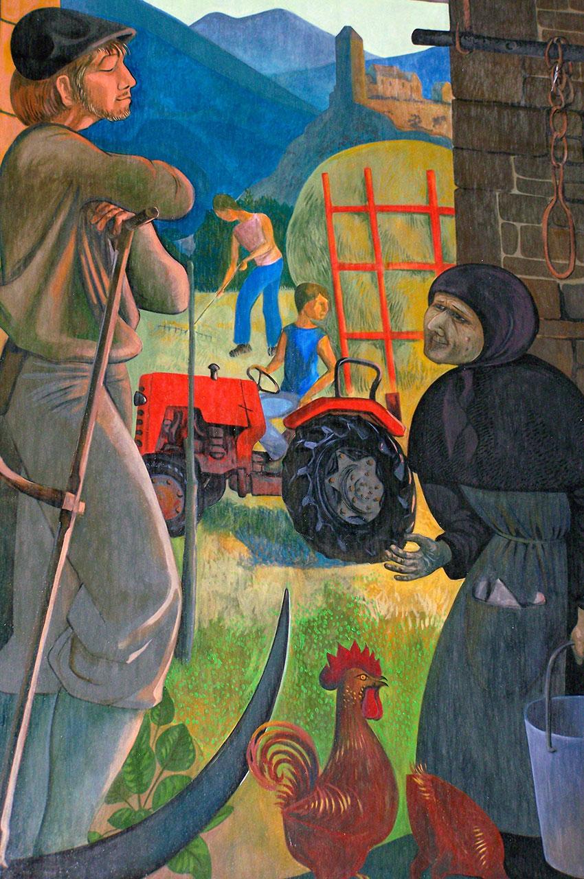 Peinture représentant le monde paysan et le travail aux champs