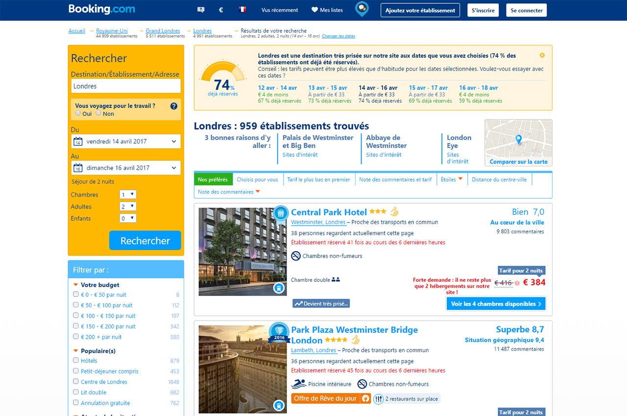 Résultats de recherche d'hôtel à Londres