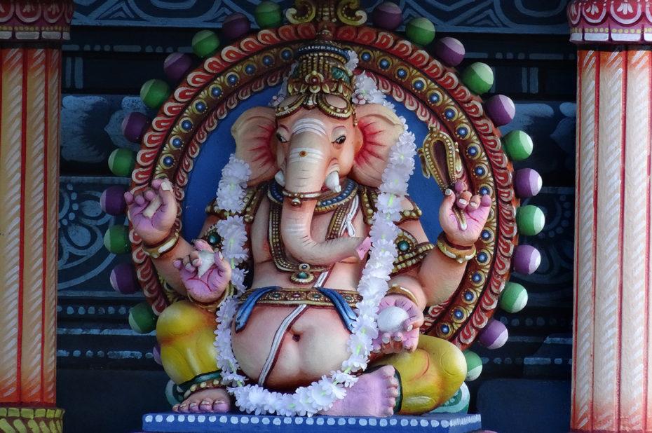 Statue d'un éléphant dans le temple tamoul