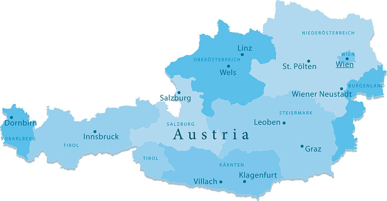 Carte des principales villes d'Autriche