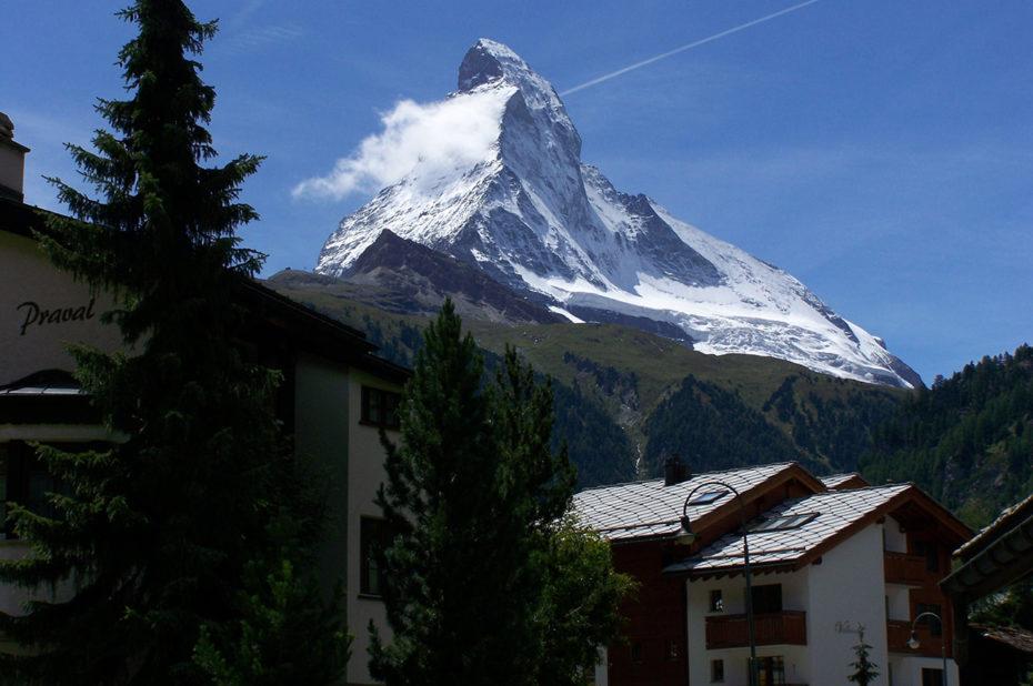 Le Cervin depuis le village de Zermatt
