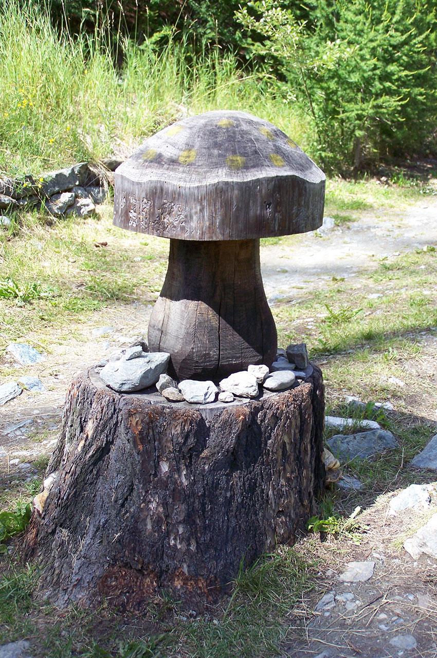 Un champignon en bois au milieu du chemin