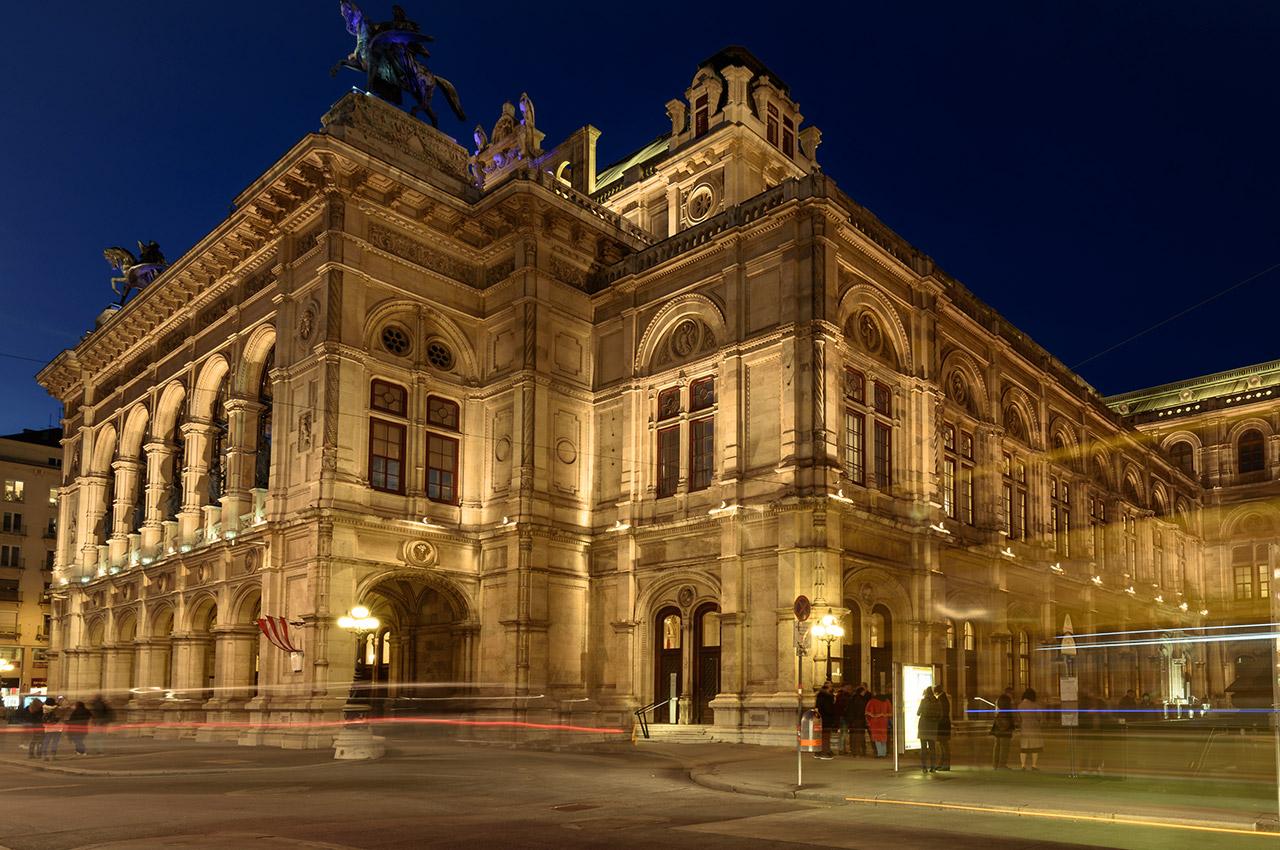L'opéra national de Vienne, de nuit