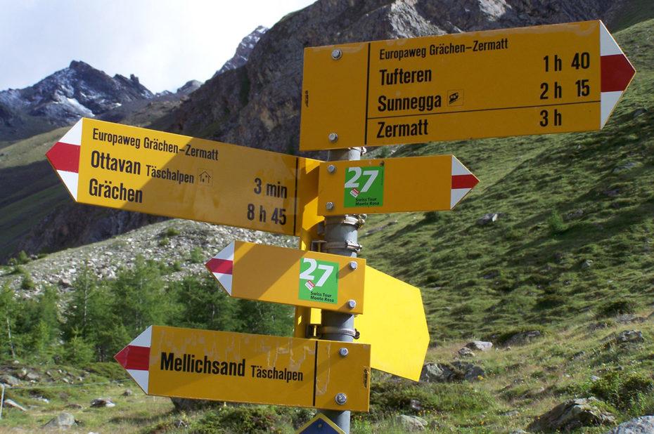 Panneau des différentes randonnées à Täschalp