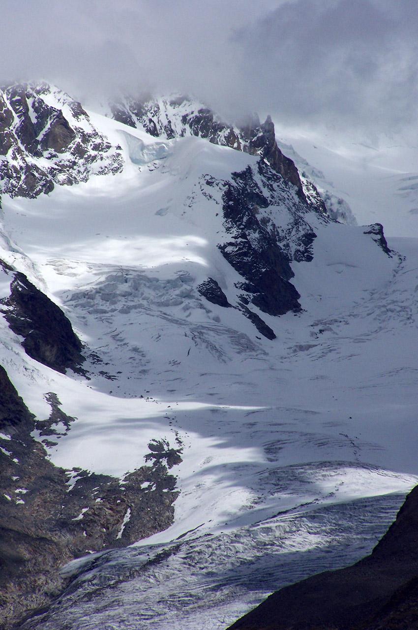 Vue sur un glacier depuis Schwarzsee