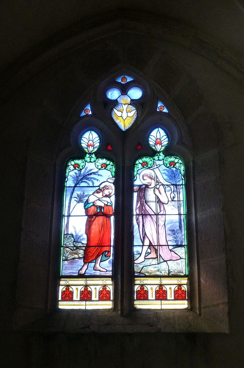 Vitrail représentant Jésus et Saint-Jean-Baptiste