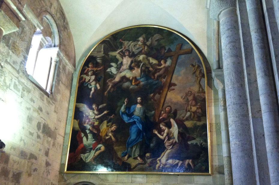 Peinture de Jésus et la croix, les saints et les anges