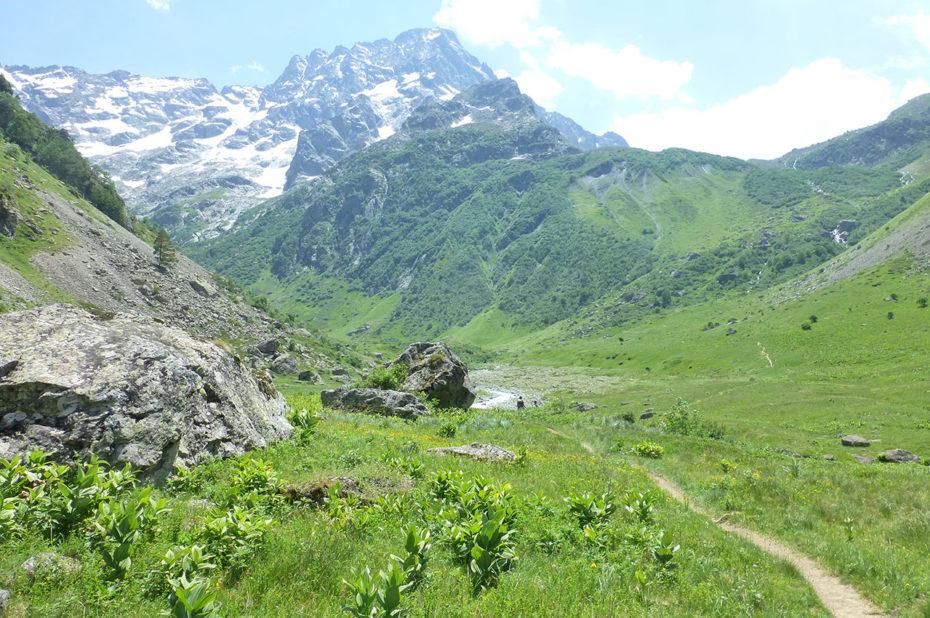Le chemin dans la vallée avant la montée au refuge de Vallonpierre