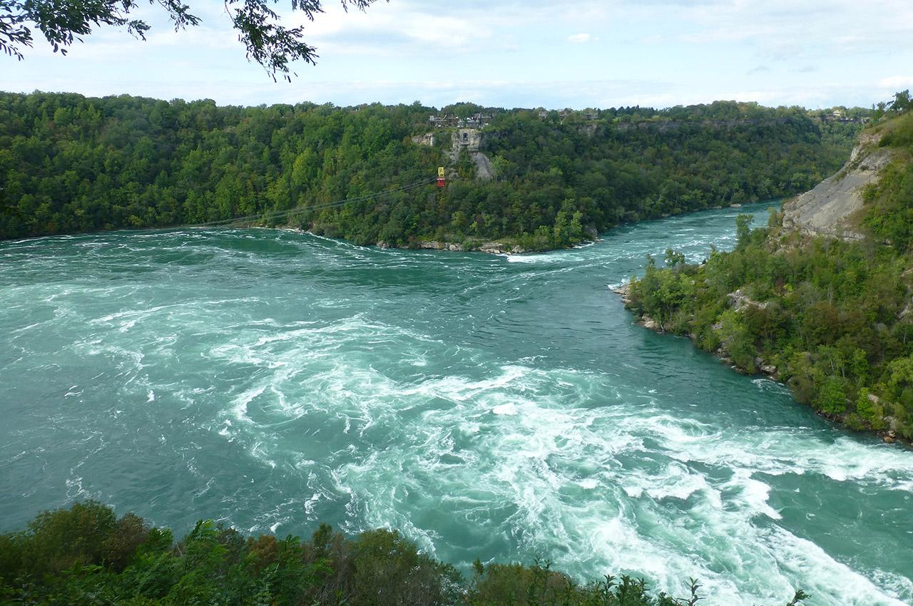 La rivière Niagara dans les gorges jusqu'au lac Ontario