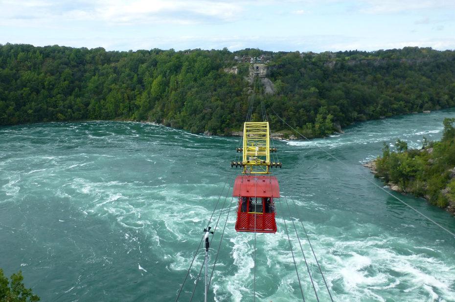 Le Whirlpool Aero Car au-dessus des tourbillons de la rivière