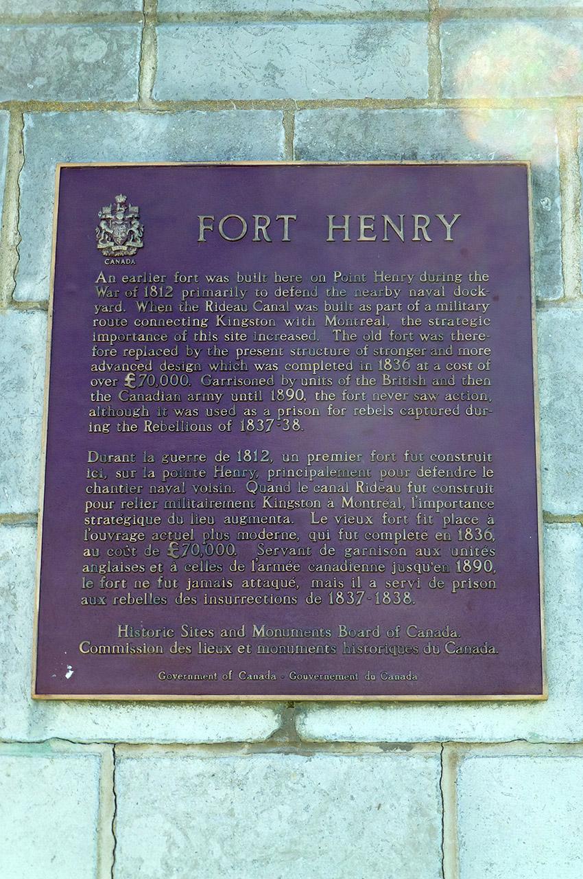 Plaque explicative du rôle du fort Henry