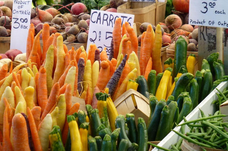 Des carottes et des courgettes bien rangées