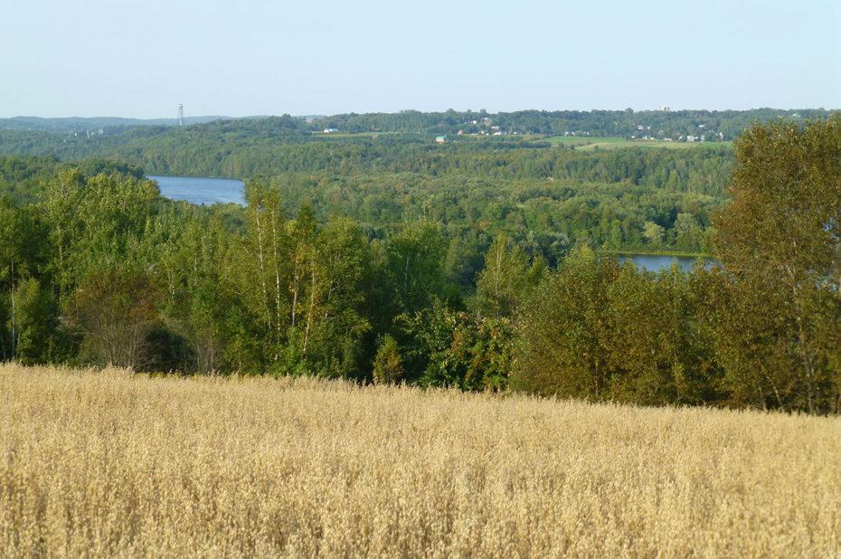 La rivière Saint-Maurice vue depuis les champs qui la surplombent