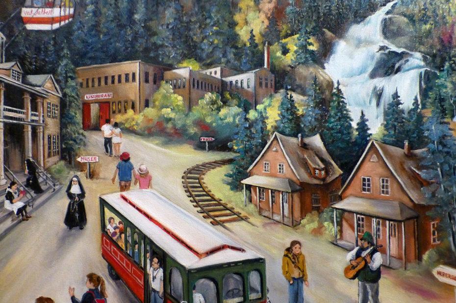 Peinture présentant le cœur du village de Val-Jalbert
