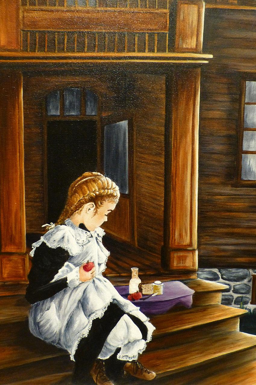Peinture d'une petite fille prenant son goûter