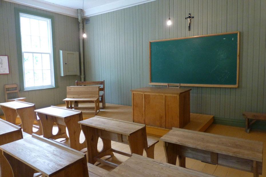 Dans l'école, l'une des salles de classe des enfants de Val-Jalbert