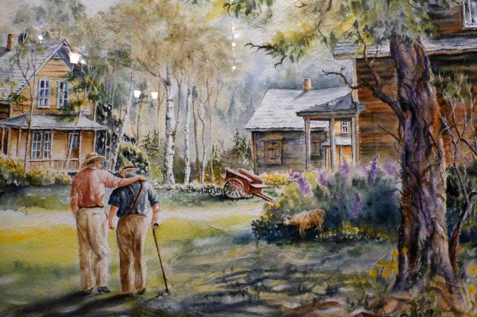 Scène de la vie quotidienne à Val-Jalbert en peinture