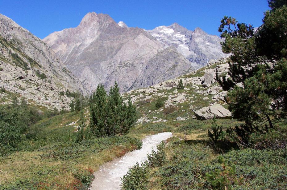 Le chemin de randonnée serpente dans la vallée