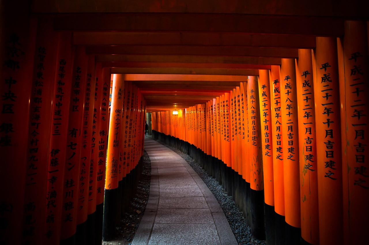 Les torii du temple Fushimi Inari Taisha à Kyoto