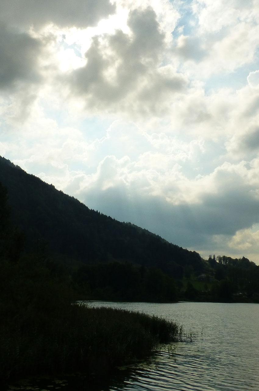 Crépuscule sur l'étang Stockenweiler Weiher