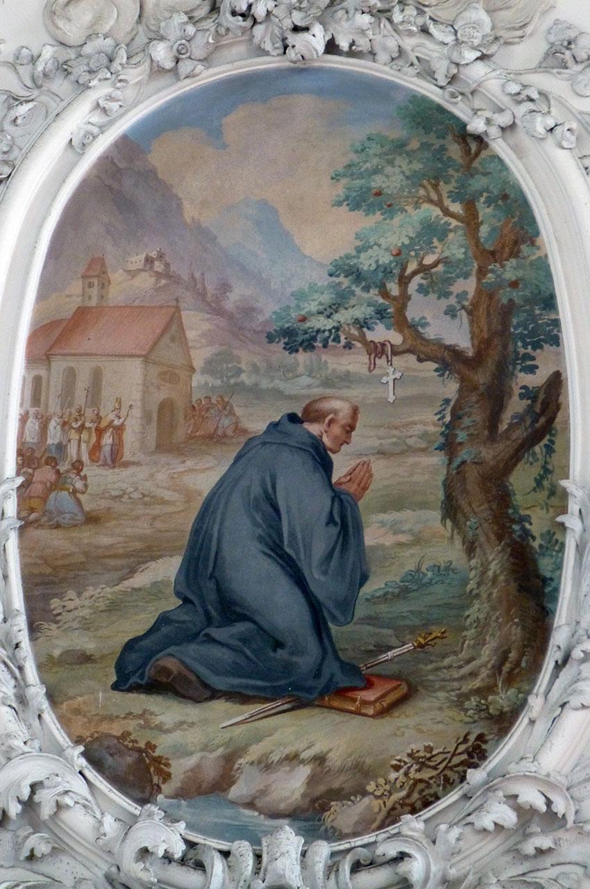 Peinture représentant Saint-Magne en prière