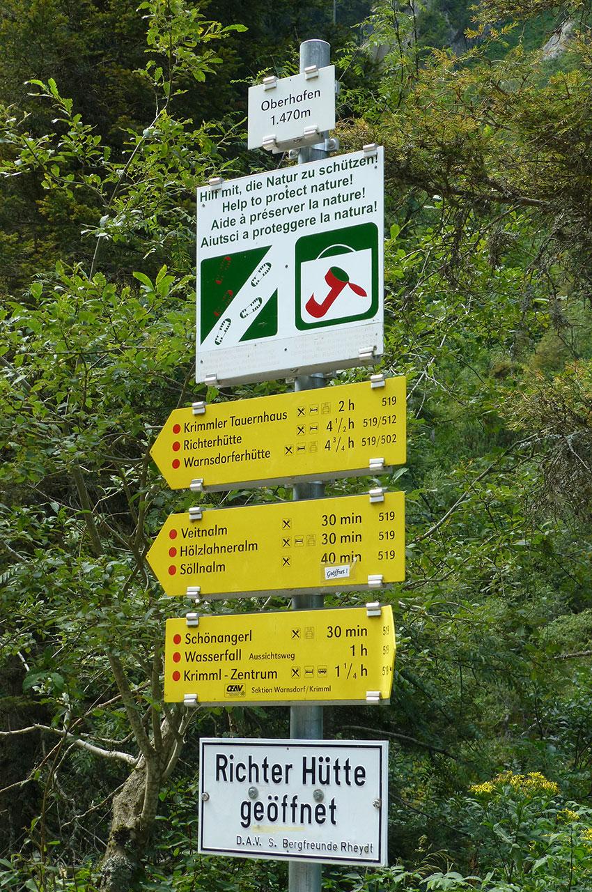 Panneau indicateur d'Oberhafen à 1470 m d'altitude