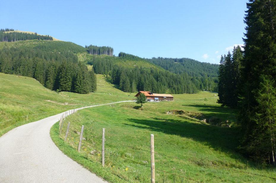 La route en direction de Reuterwanne, sur les hauteurs de Wertach