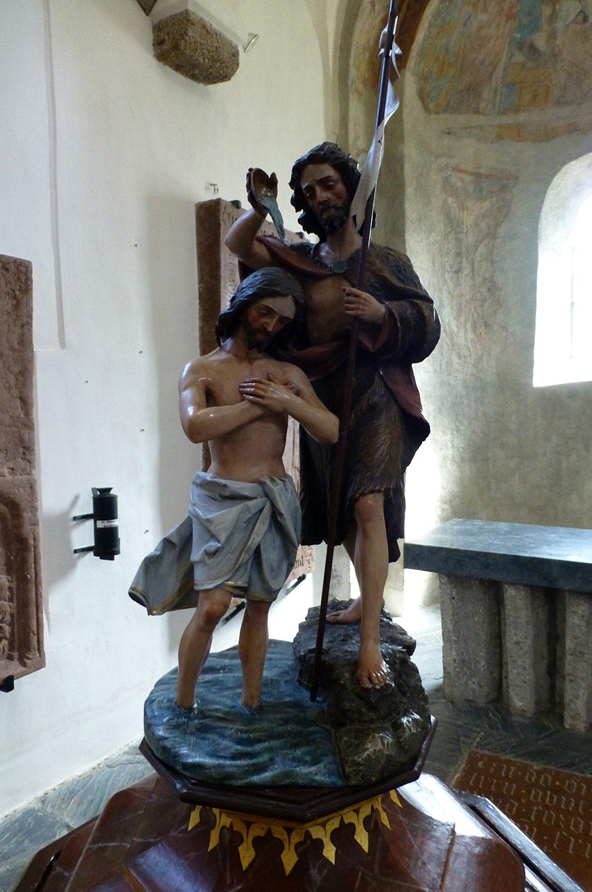 Sculpture représentant le baptême de Jésus par St Jean Baptiste