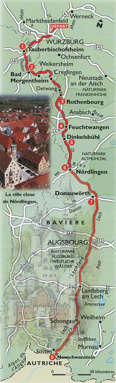 Carte itinéraire de la Route Romantique