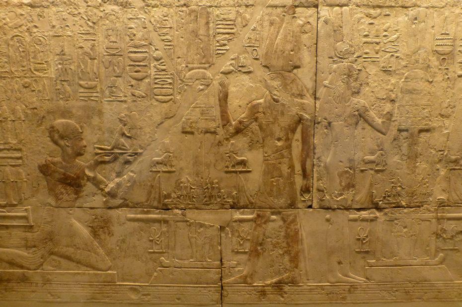 Mur ouest de la chapelle de Ramsès I à Abydos